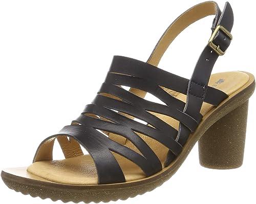 El Naturalista N5156 Vaquetilla negro Trivia, zapatos de tacón con Punta Abierta para mujer