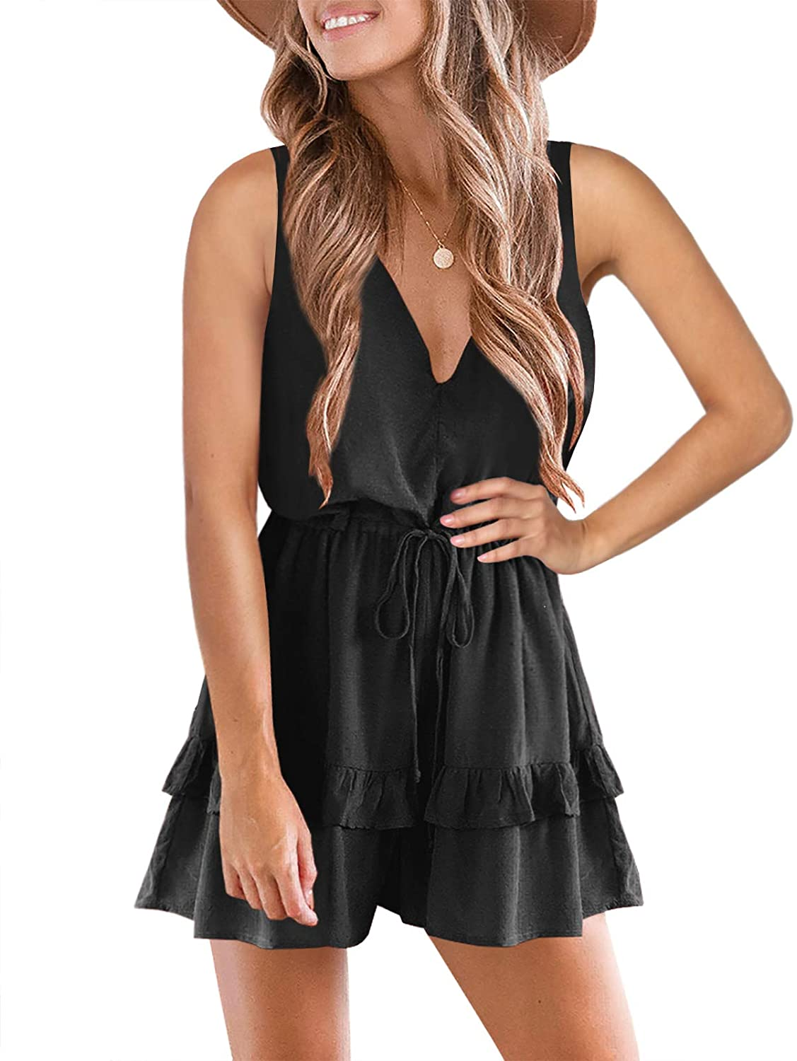 Beauty products Valphsio Womens V Neck Beach Tank Rompers S Flowy Baltimore Mall Layered Ruffle