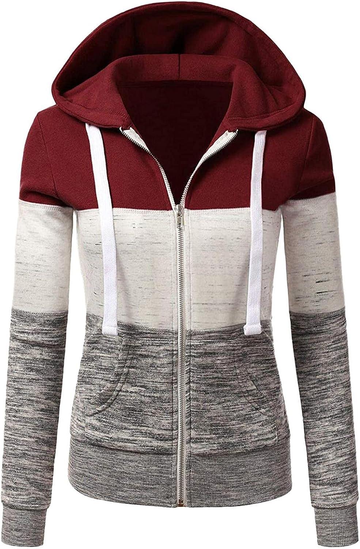 Womens Hoodies,Women Hoodies with Zipper Plus Size Aesthetic Fashine with Pockets Patchwork Sweatshirt Coat