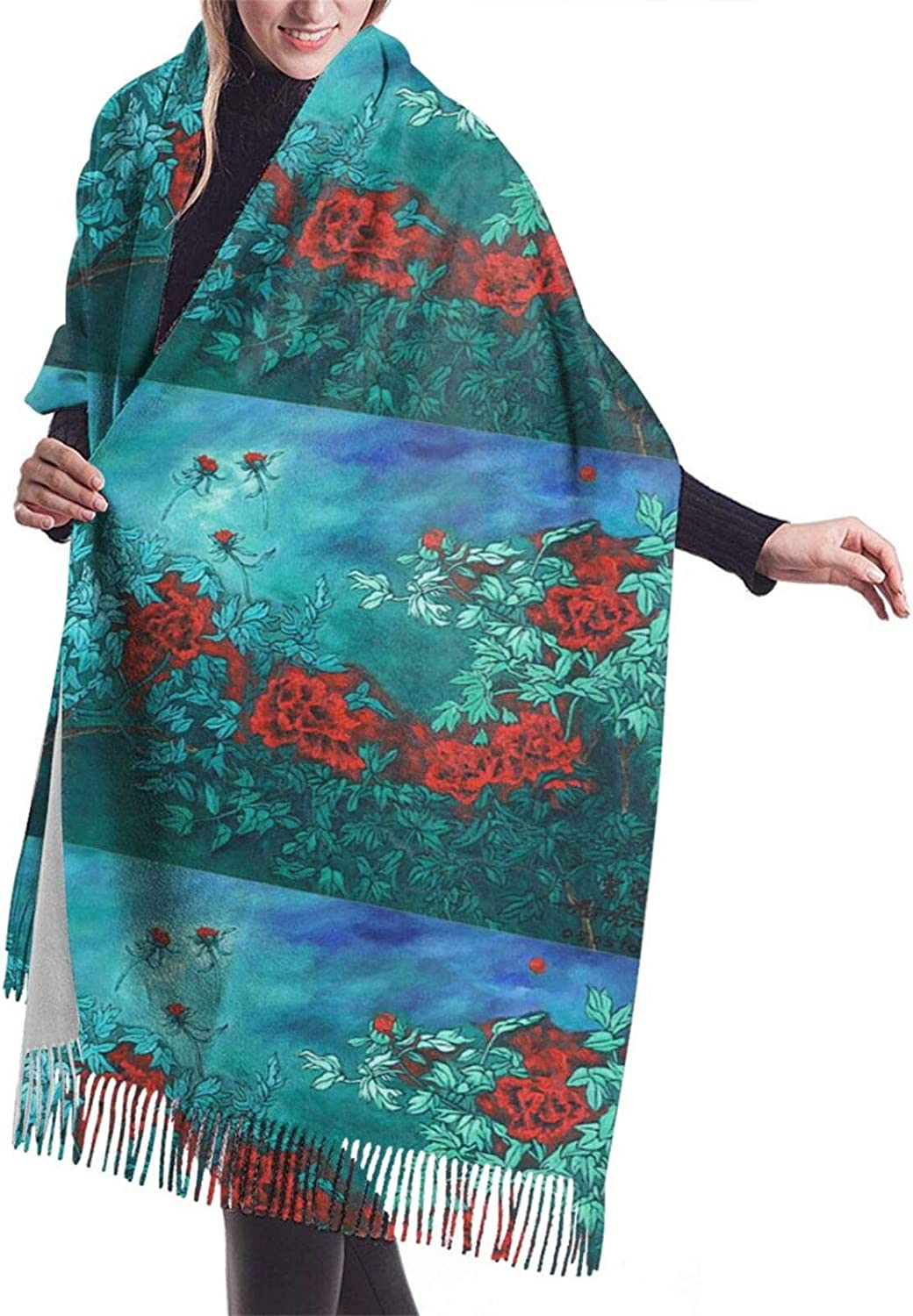 Red Flowers Cashmere Feel Scarf Lightweight Soft Scarfs For Boys Girls Creative Warm Cold Weather Blanket Scarf