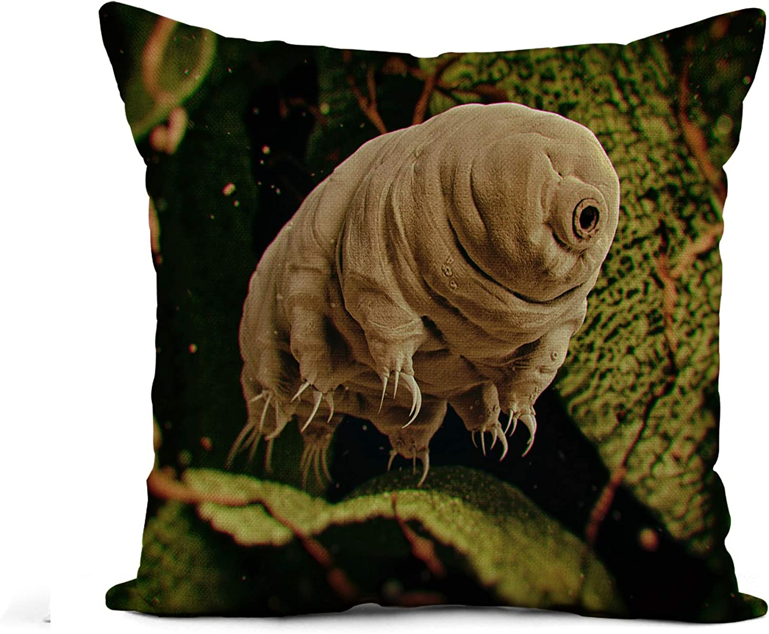 Awowee Flax Throw Pillow Cover Tardigrada Tardigrade Water Bear 3D Rendered Moss Microscope Biology 20x20 Inches Pillowcase Home Decor Square Cotton Linen Pillow Case Cushion Cover