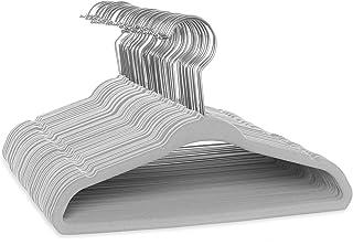 """Casafield - 50 Gray Velvet 11"""" Non-Slip Baby Hangers - Space Saving & Chrome Swivel Hook for Infant & Toddler Clothes, Dre..."""