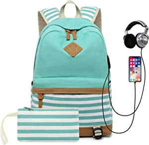 School Backpack for Girls Teens, College Bookbag Back Bag with USB Charging Port (Green)