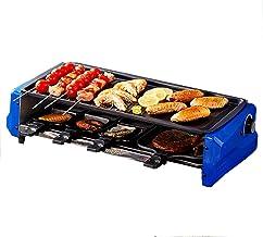 AOIWE Raclette grill électrique double couche sans fumée pour barbecue électrique (couleur : bleu)