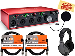 Focusrite Scarlett 18i8 3rd Gen 18-in, 8-out USB Audio Interface Bundle with Headphones, Pop Filter, 2 XLR Cables, and Austin Bazaar Polishing Cloth