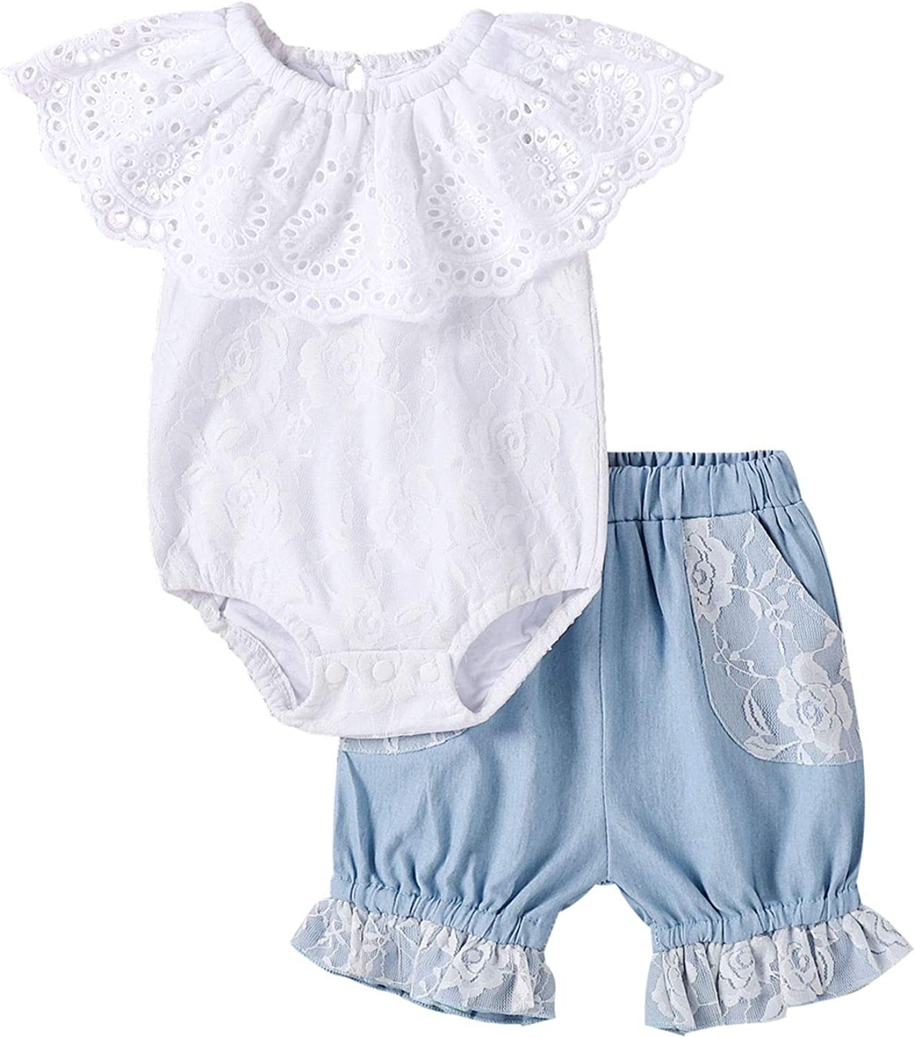 BOWINR Newborn Baby Girl Clothes Ruffled Romper Lace Bodysuit Jeans Floral Outfits Set