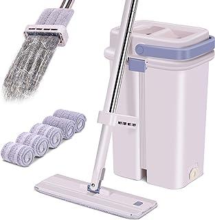 Ryosee Seau de nettoyage avec kit serpillère, serpillère plate avec 6 serpillères et poignée en acier inoxydable, kit de n...
