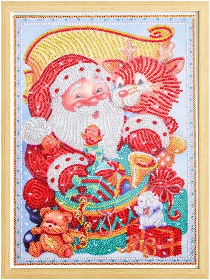 Handmade Santa 70% OFF Outlet Claus Diamond Spring new work one after another Painting Snowman Mosaic Round Handm