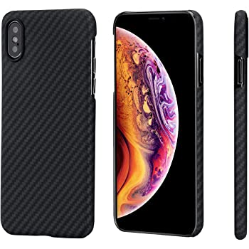 「PITAKA」MagEZ Case iPhone Xs 対応 ケース スマホケース 軍用防弾チョッキ素材 アラミド繊維 超薄(0.85mm) 超軽量(14g) 5.8インチ 超頑丈 耐衝撃 高耐久性 スリム 薄型 ミニマリスト シンプル 高級なカーボン風 ワイヤレス充電対応 (黒/グレ-ツイル柄)