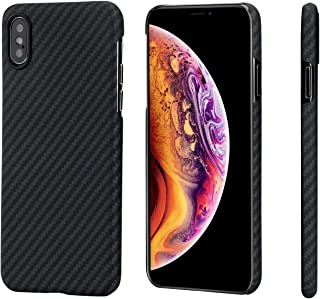 "PITAKA Slim Case Compatible with iPhone Xs 5.8"", MagCase Aramid Fiber [Real Body Armor Material] Phone Case,Minimalist Strongest Durable Snugly Fit Snap-on Case - Black/Grey(Twill)"
