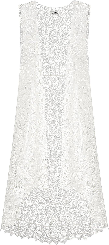 GLEAMISS Lace Front Open Sleeveless Top Cardigan Crochet Vest Bikini Cover up Summer Beachwear