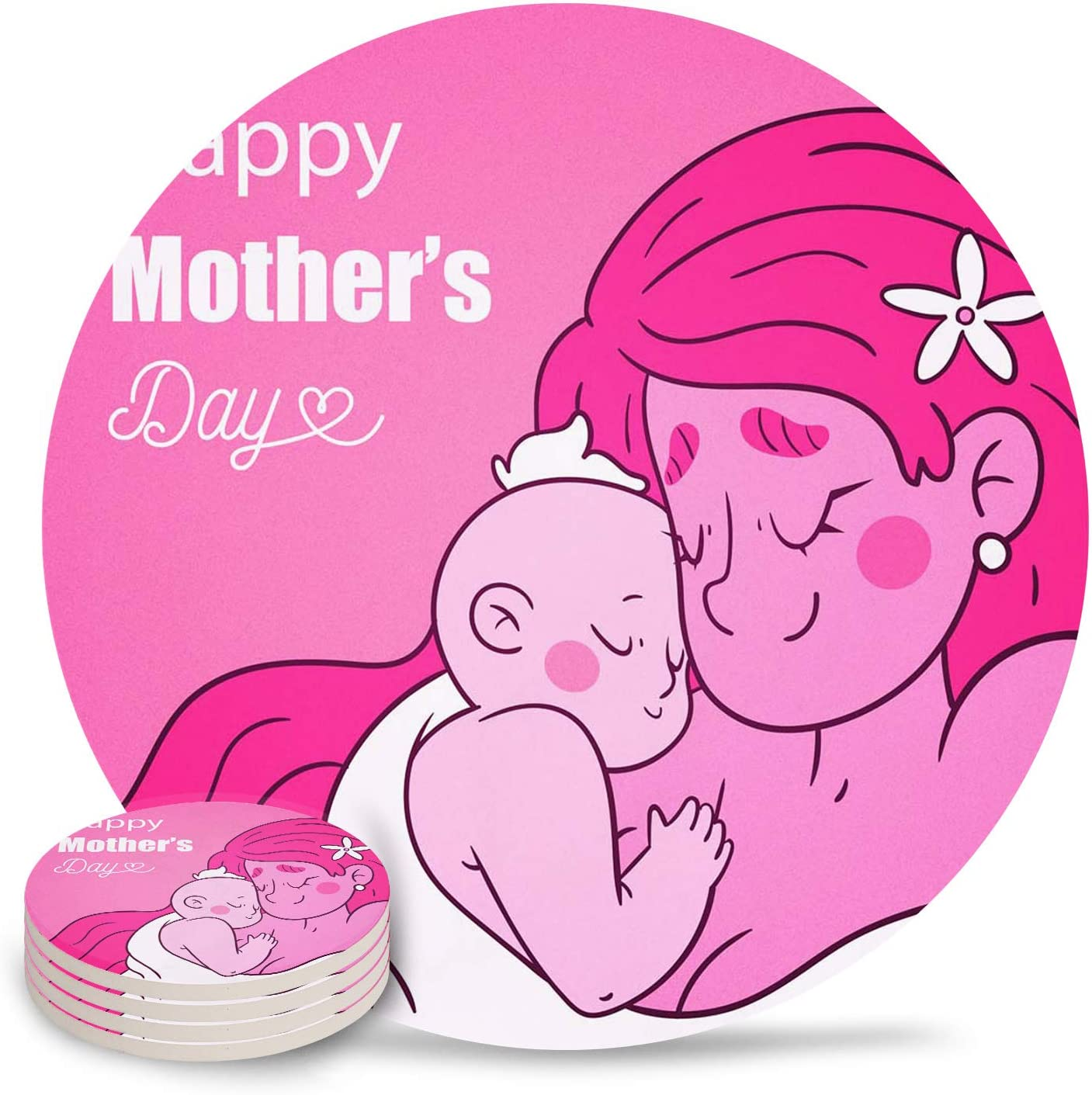 Drink 1 year warranty Coasters Happy Mother's Day Absorbent C Stone High material Baby Cartoon