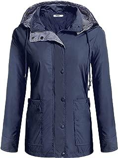 Anboer Women's Striped Waterproof Long Sleeve Hoodie Packable Raincoat Venture Jacket S-XXL
