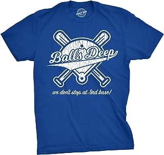 Mens Balls Deep Funny Baseball Shirts Hilarious 3rd Base Offensive Gift Idea T Shirt