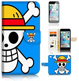 (For iPhone 8 Plus/iPhone 7 Plus) Flip Wallet Case Cover & Screen Protector Bundle! A20070 One Piece Icon