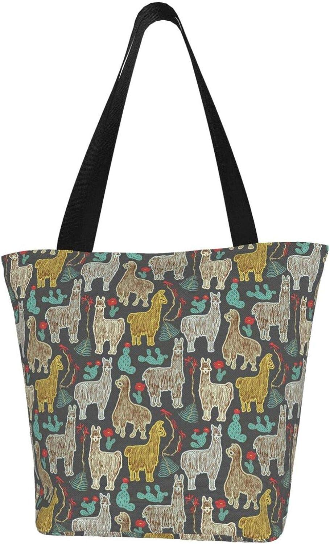 Black Cute Doodle Llama Unique Themed Printed Women Canvas Handbag Zipper Shoulder Bag Work Booksbag Tote Purse Leisure Hobo Bag For Shopping