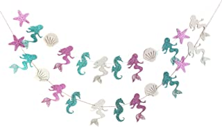 Mermaid Seashell Banner Garland Party Supplies for Kid Birthday Party Decoration