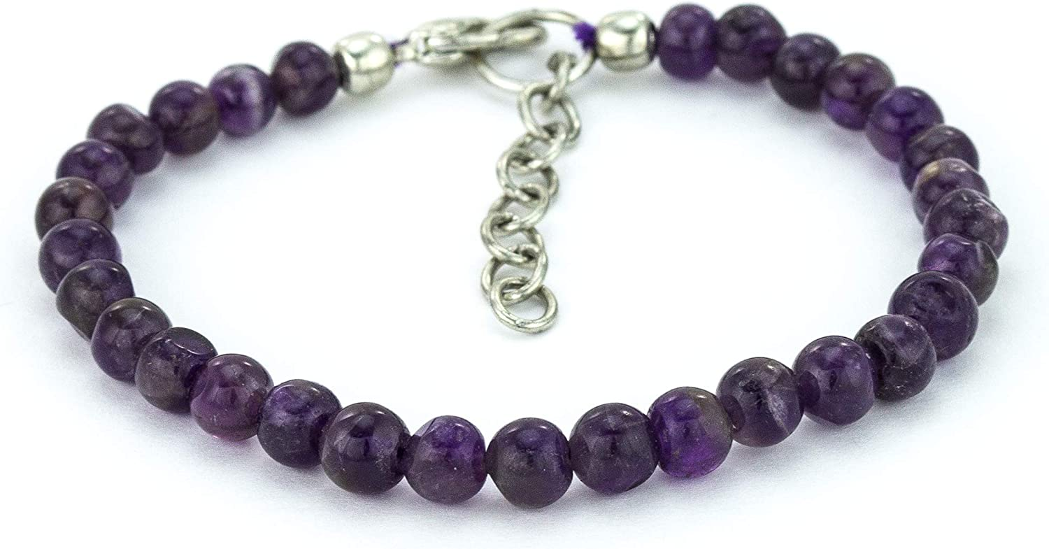 Mystic Self Amethyst Gifts Bracelet - Handmade Gemstone Natural Shipping included Purple