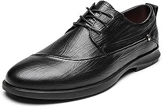 DADIJIER Oxfords Vestido Zapatos para Hombres Planeada Planeada Tallo de Cordillo Round Toe Block Tacón de Cuero Genuino S...