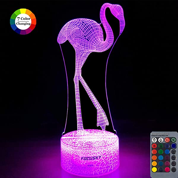 Focusky Flamingo Gifts For Girls Dimmable Flamingo Night Light For Kids 16 Fixed Colors 7 Colors Changing Touch Remote Control Bedside Lamp Flamingo Toys Birthday Gifts For Girls