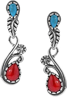 American West Sterling Silver Red Coral and Blue Turquoise or Blue Lapis and Jasper Gemstone Vine Leaf Earrings