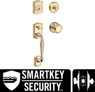 Baldwin Wesley Single Cylinder Front Door Handleset Featuring SmartKey Security in Polished Brass, Prestige Series with Traditional Door Hardware and Alcott Knob