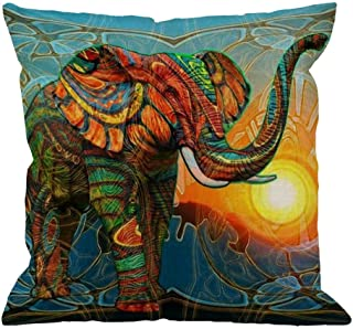 HGOD DESIGNS Elephant Pillow,Colorful Aztec Elephant Sunset Square Cushion Cover Standard Pillowcase Home Decorative Sofa Armchair Bedroom Livingroom 18 x 18 inch