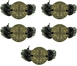 CB Bronze Tone Saint Benedict Medal on Black Leather Bracelet, 7 3/4 Inch