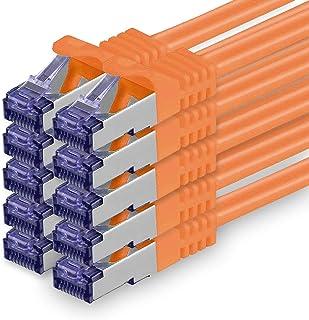 Cat.7 nätverkskabel 1m - orange - 10 stycken - Cat7 patchkabel (SFTP/PIMF/LSZH) rå kabel 10 Gb/s med Rj 45-kontakt Cat.6a...