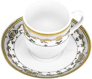 "Fine Porcelain ""Golden Rose"" 4-oz. Coffee Cup and Saucer Set, Vintage Royal Coffee Cups Set, Ceramic Tea Service, 6 Espresso Cups + 6 Saucers"