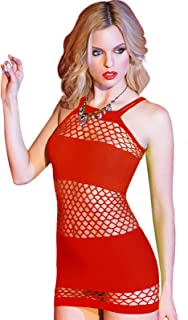 SuTon Women Sexy Lingerie, Fishnet Babydoll Chemises Lingerie Nightwear (One Size)