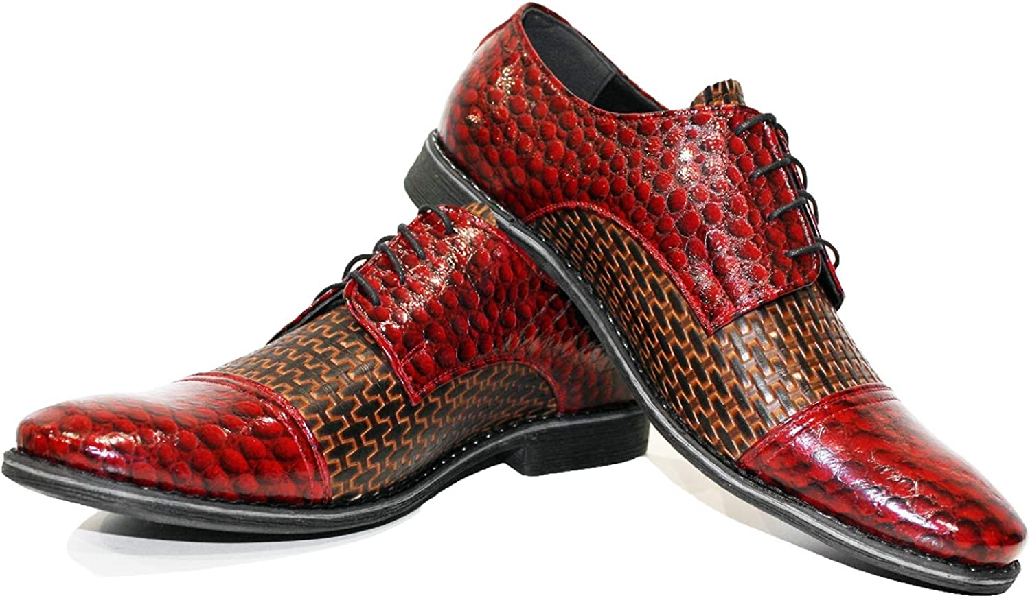 Modello Ramonet - Handmade Italian Leather Mens color Red Oxfords Dress shoes - Cowhide Embossed Leather - Lace-Up