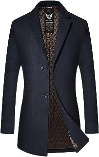 FUNFOA Men's High Quality Woolen Trench Coat Long Fashion Slim Fit Winter Overcoat Single Breasted Outwear Parka