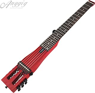 Anygig AGNSE Right-Handed Matte Cherry Portable 6 String 24 Frets Classical Guitar Travel Electric Guitar with Carry Bag