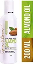 Green & Brown Sweet Almond Oil Cold Pressed and Pure for Hair, Skin and Face, White, 200 ml