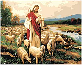 """DIY Painting""""Guide The Lost Lamb""""Paint by Number Kits for Adults Child Handmade Oil Painting Home Decor Gift Creative Crafts(No Frame)"""