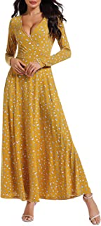 Women Floral Long Sleeves V Neck A Line Unique Cross Wrap Fall Maxi Dresses with Pockets