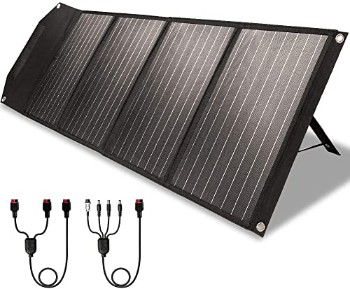 ROCKPALS RP082 100w Foldable Solar Panel Charger with Kickstand, Parallel Cable, QC 3.0 and USB-C, Upgraded Portable ...