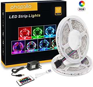 PHOPOLLO LED Strip Lights for Room Bedroom 3528 32.8 ft 10 m 600LEDs RGB led Light Strip Color Changing Non-Waterproof with Remote Controller 12v Lighting with Remote