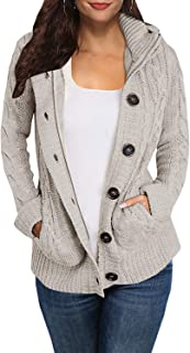 Hestenve Womens Chunky Hoodies Cardigan Sweater Button Down Jumper Coat Pocket