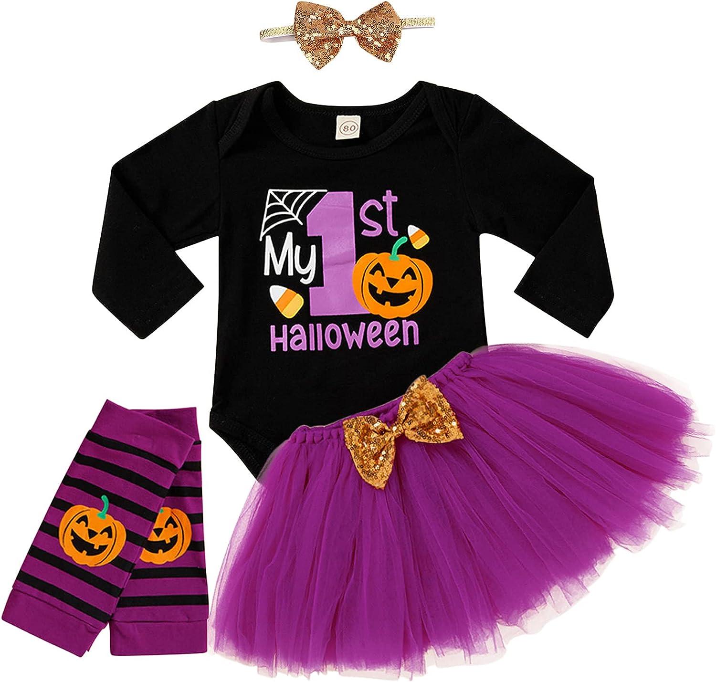 4Pcs Baby Girls My 1st Halloween Thanksgiving Outfits Pumpkin Pr