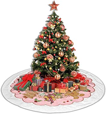 """Giinly 48"""" Christmas Tree Skirt,Gingerbread Candy Stick with White Velvet Edges for Xmas Holiday Decorations"""
