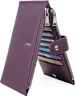UTO RFID Wallet for Women PU Leather Blocking Tech 19 Card Case Money Organizer Phone Zipper Pocket Purple