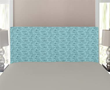Lunarable Turquoise and Teal Headboard, Underwater Wildlife Concept Doodle Artwork Shellfishes and Stars, Upholstered Decorat