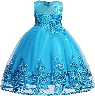 Blevonh Sleeveless Chiffon Girl Dress Kids Lace 3D Flower Wedding Party Dresses