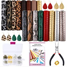 Caydo 16 Pieces Embossed Leather Earring Making Kit with Instructions, Earring Hooks, Jump Rings for Earrings Making Supplies (6.3