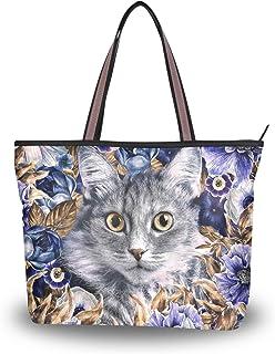 Große Schultertasche Katze und lila Blume Handtasche mit Reißverschluss Strandtaschen