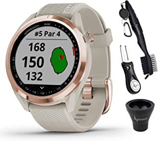 $309 » Garmin Approach S42 Premium GPS Golf Watch, Rose Gold with Light Sand Silicone Band and Wearable4U All-in-One Golf Tools B...