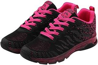 Memefood Zapato Deporte Mujer, Calzado De Cordones Plano Zapatillas De Malla Transpirable Ligero En Suelas Cómodo De Moda ...