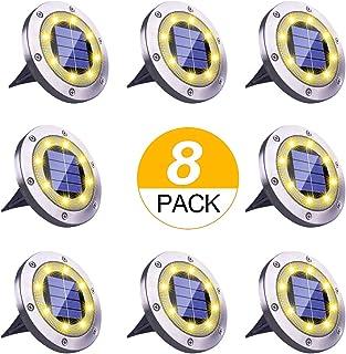Kdorrku Solar Garden Lights, Solar Ground Lights Outdoor Solar Landscape Lights with 8 LED, Waterproof Garden Lights Solar Powered for Pathway Driveway Lawn Yard Patio Walkway (8 Pack-Warm White)